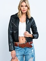 Seek The Label Removable Collar Faux Leather Jacket