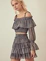 Atikshop Metallic Tiered Ruffle Skirt