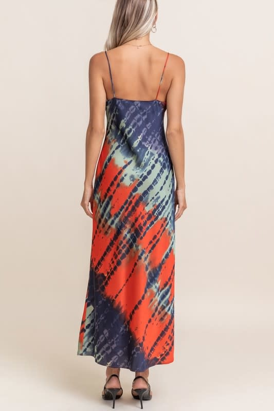 Atikshop Satin Tye Dye Slit Maxi Dress
