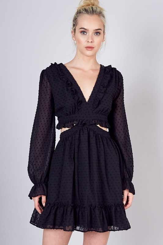 Atikshop Open Back Lace Up Mini Dress