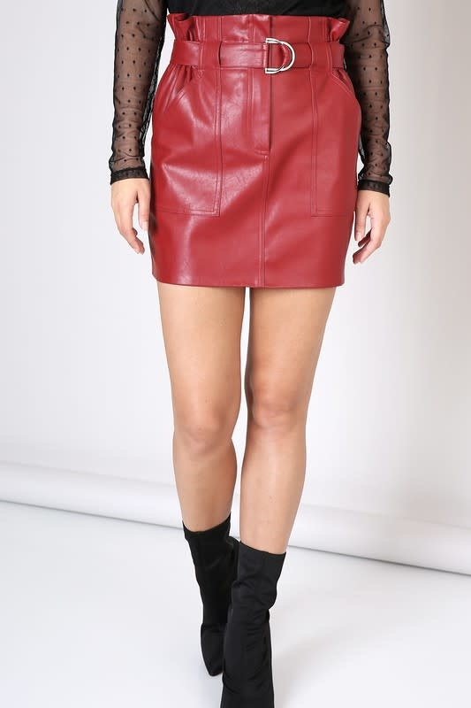 Seek The Label Belted Faux Leather Skirt