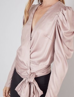 Atikshop Wrap Puffy Sleeves Top