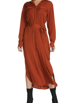 Seek The Label Maxi Dress Button Down W/Belt