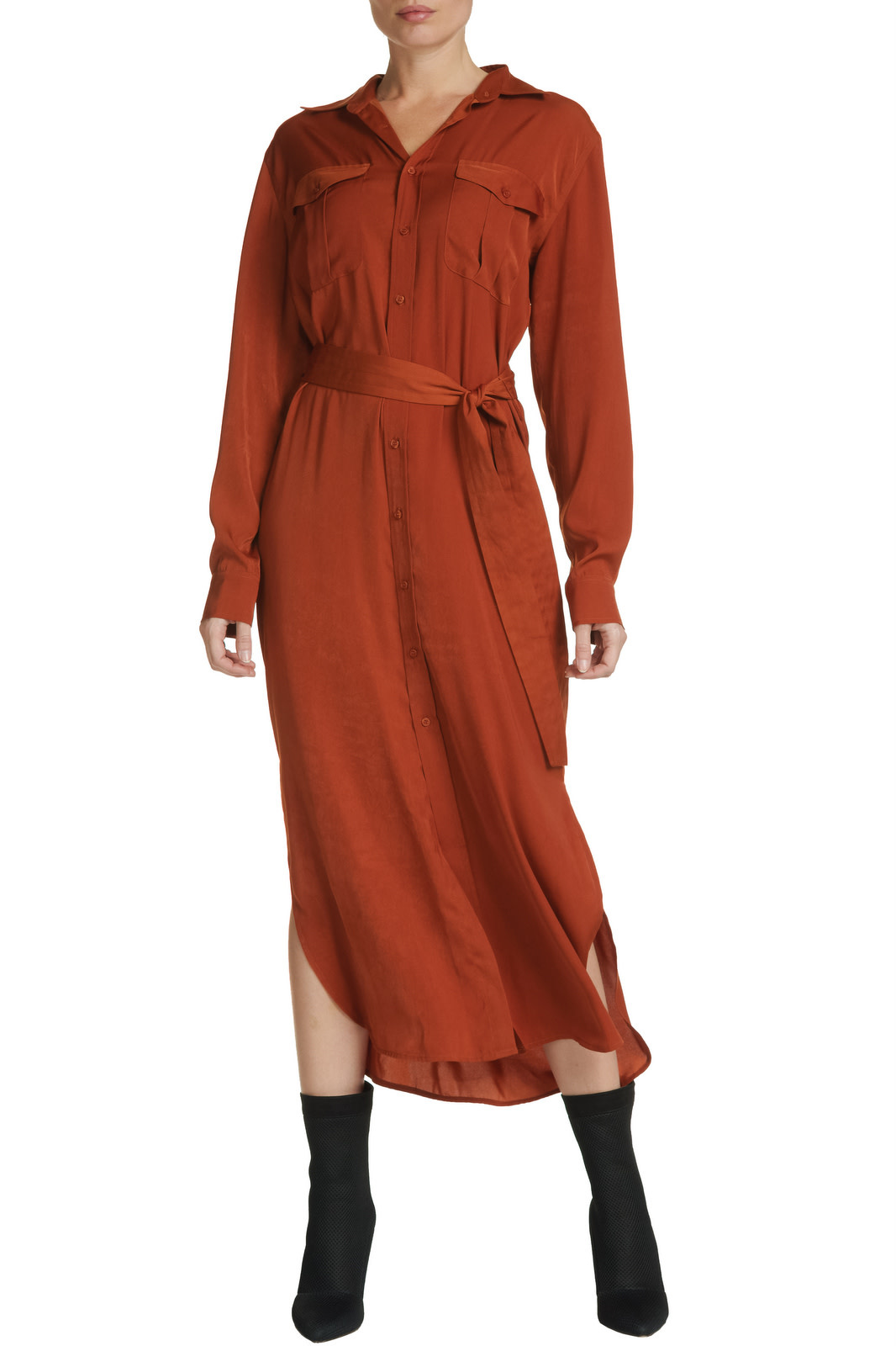 Seek The Label Maxi Dress Button Down W/Belt