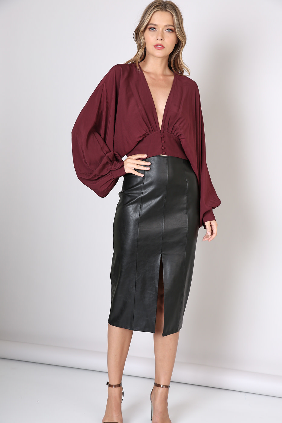 Seek The Label Deep V-Neck Bubble Sleeves Top