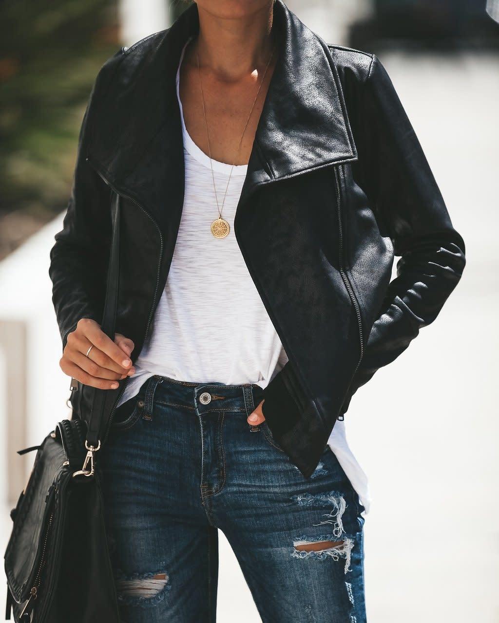 jackets Coated Moto Jacket