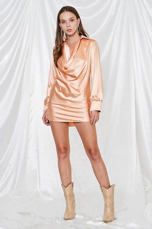 Seek The Label Satin Cowl Neck Mini Dress