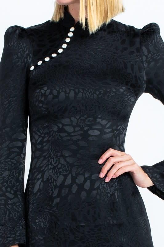 Atikshop Cheetah Button Detail Mini Dress