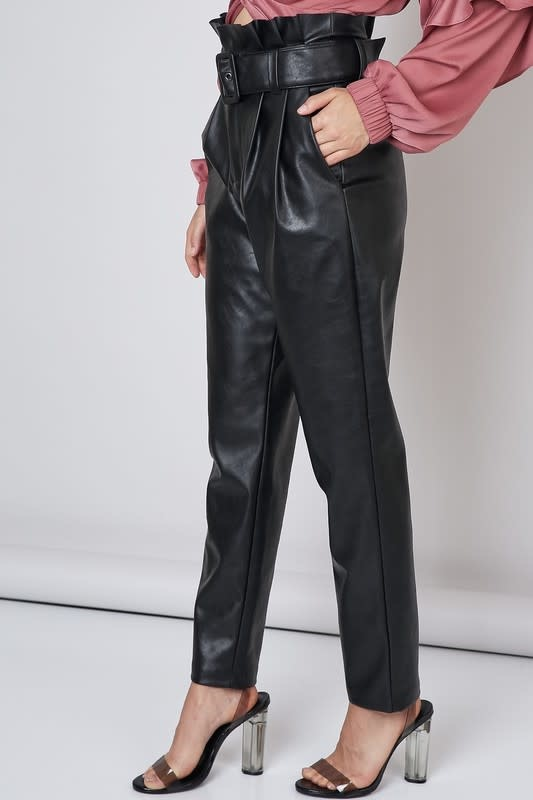 Atikshop Faux Leather Belted High Rise Pants
