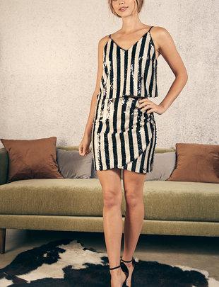 Atikshop Stripe sequin Skirt