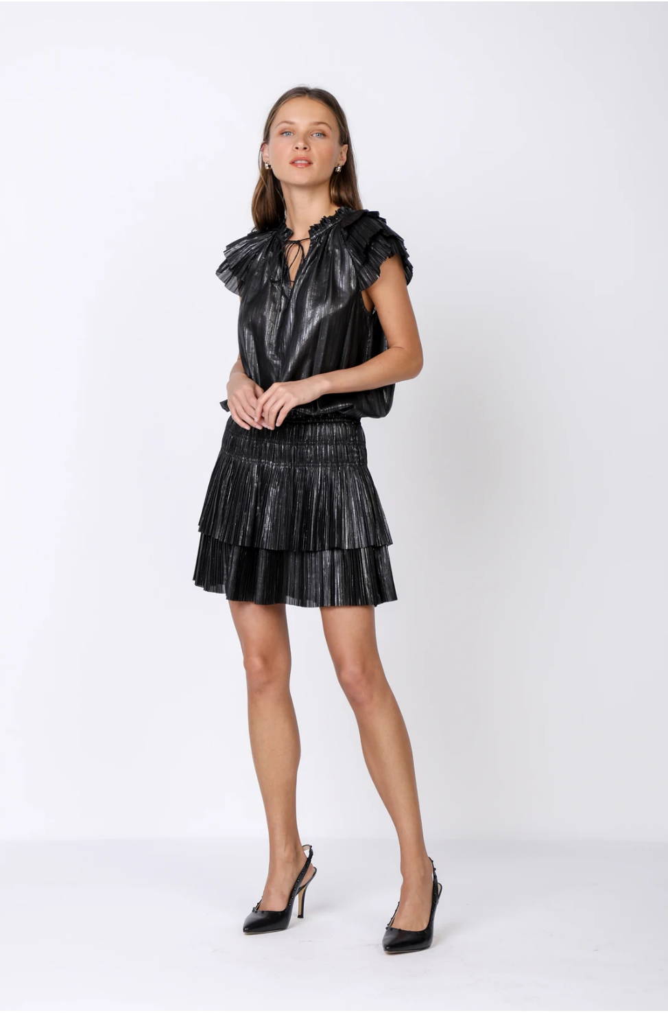 Seek The Label Smythe Metallic Pleated Mini Dress