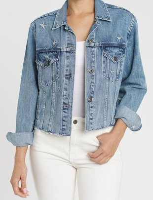 Atikshop Naya Crop Star Embroidery Denim Jacket