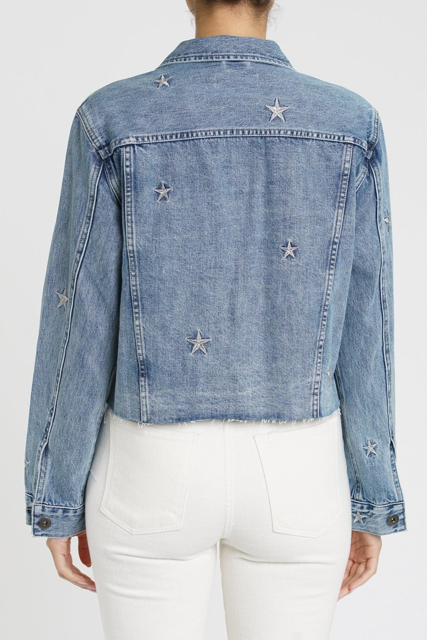 Atikshop Naya Crop Star Embroidery Denim Jacket