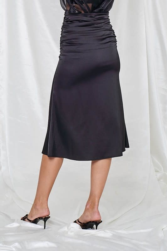 Seek The Label Cinched Satin Maxi Skirt