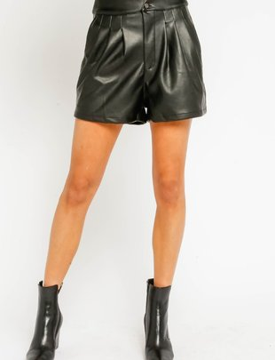 Atikshop Pleated Faux Leather Shorts