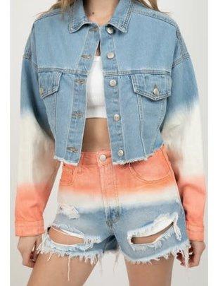 Seek The Label Tye Dye Frayed Denim Jacket