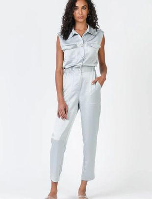 Seek The Label Satin Button Down Jumpsuit