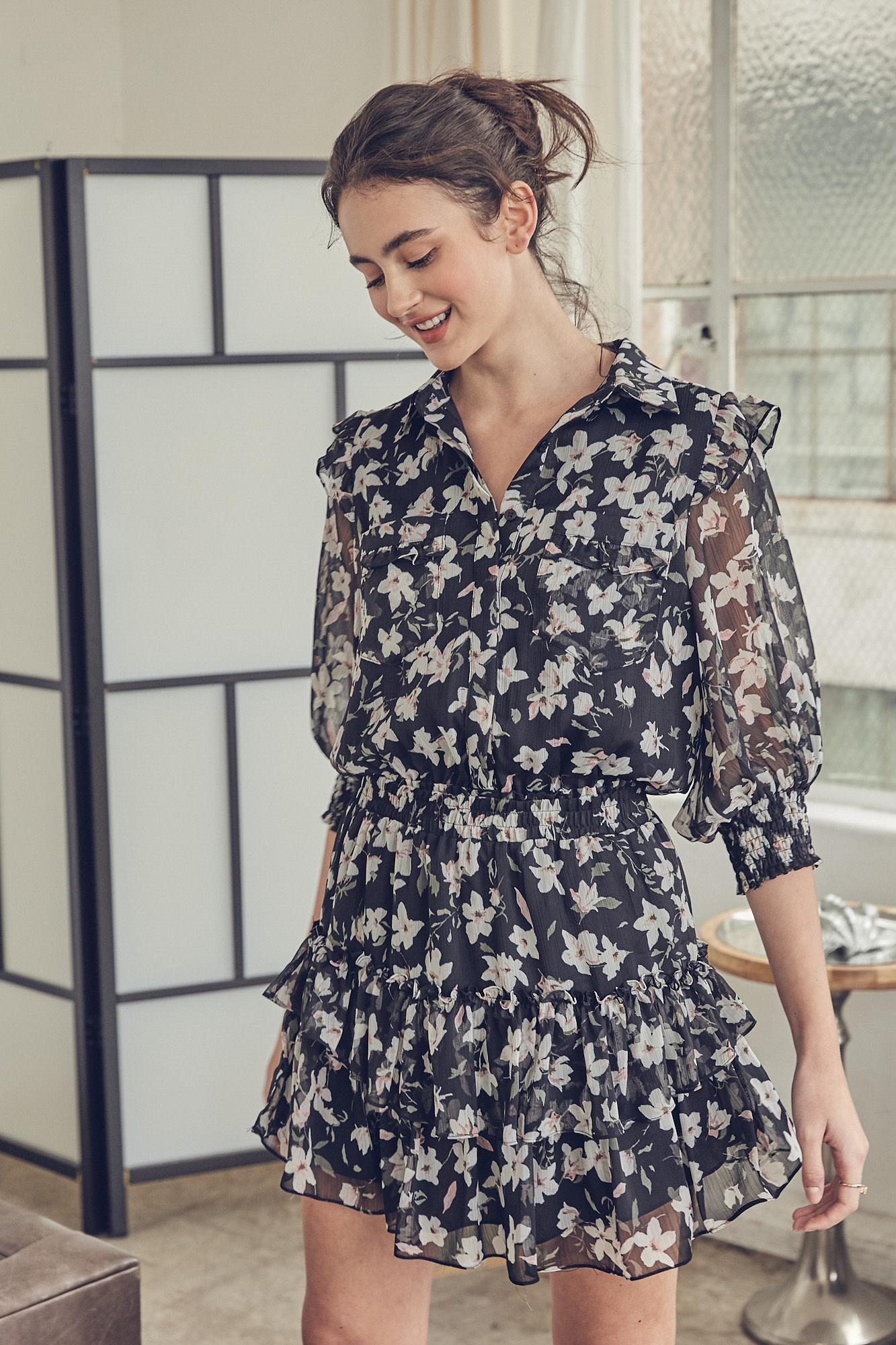 Seek The Label Button Up Floral Ruffle Dress