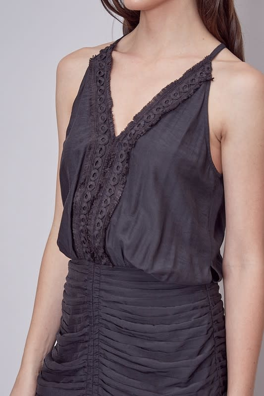 Atikshop Embroidered Detail Ruched Dress