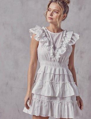 Atikshop S/S Ruffle Detail Mini Dress