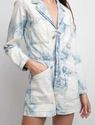 Seek The Label Bleached Denim Romper