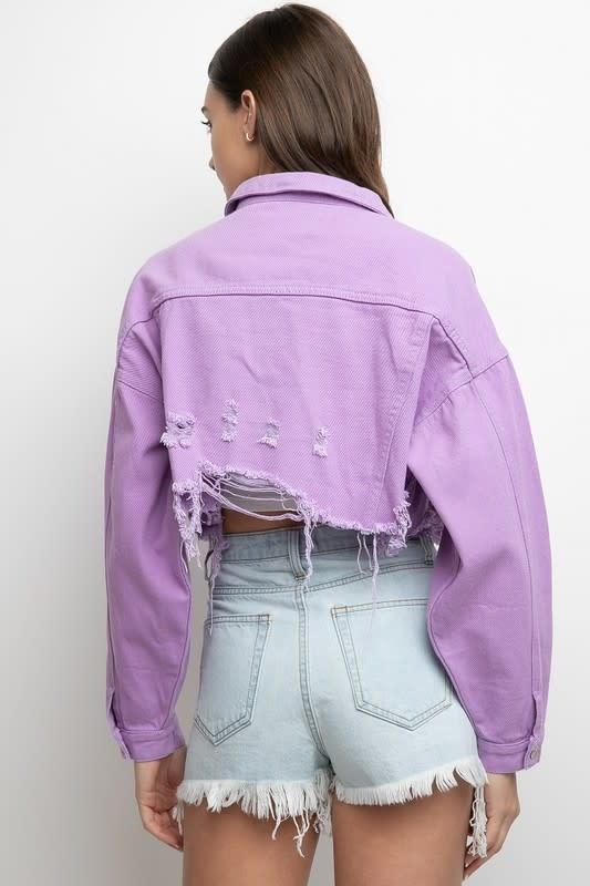 Seek The Label Destroyed Color Crop Denim Jacket