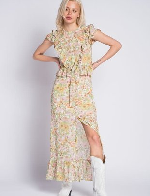 Atikshop Floral Ruffle Maxi Dress