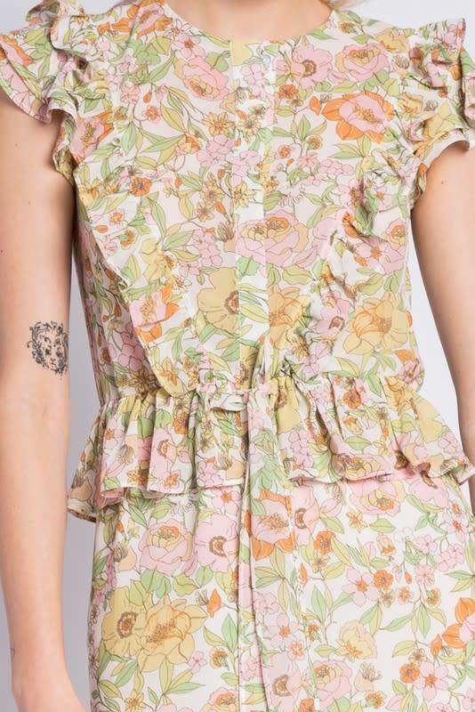 Atikshop Floral Ruffle Maxi Dress