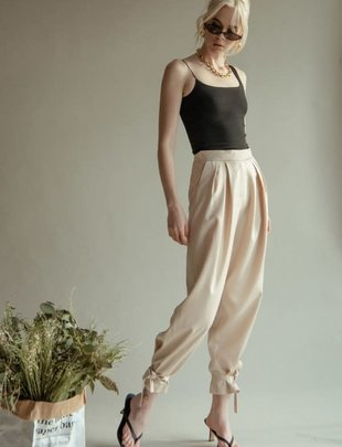 Seek The Label Satin Ankle Tie Pants