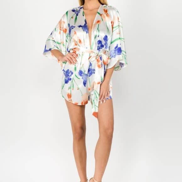 Seek The Label Satin Floral Kimono Romper