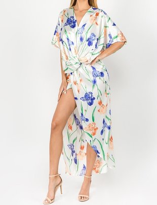 Seek The Label Satin Floral Wrap Maxi Dress
