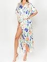 Seek The Label Satin Floral Wrap Maxi Dress
