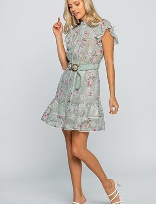 Atikshop Floral Print Eyelet Mini Dress