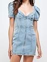 Seek The Label Puff Shoulders Denim Mini Dress