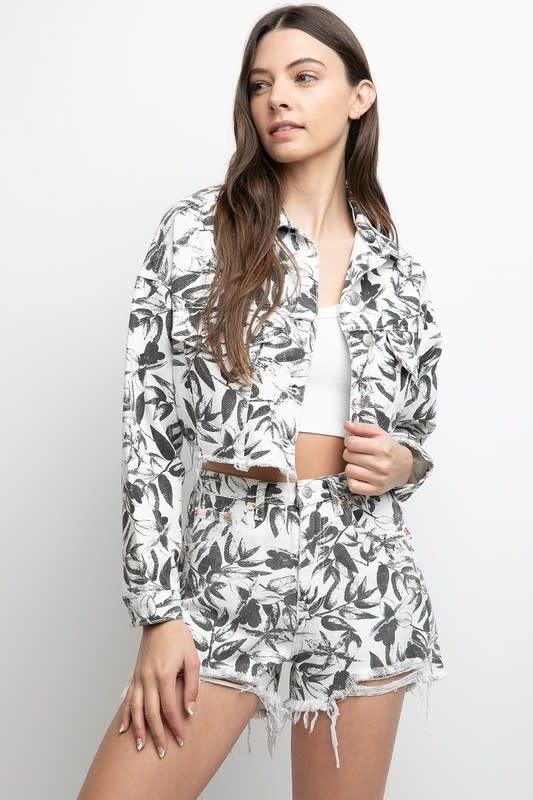 Seek The Label Destroyed Floral Denim Short