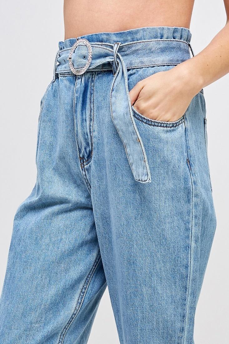Seek The Label Paperbag Pant W/Rhinestone Buckle