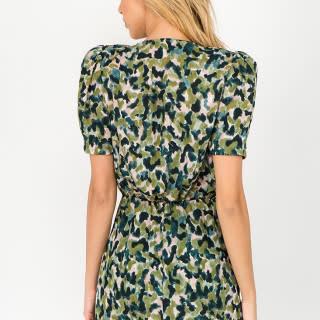 Seek The Label Shoulder Pad Camo Mini Dress