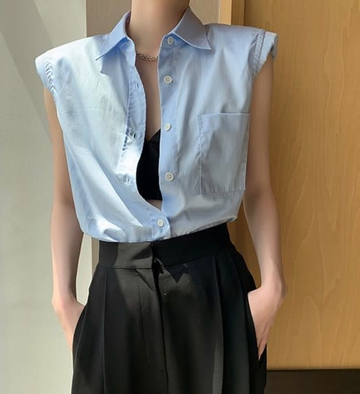 Atikshop Sleeveless Shoulder Pad Shirt