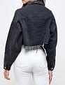 Seek The Label Crystal Fringes Cropped denim Jacket