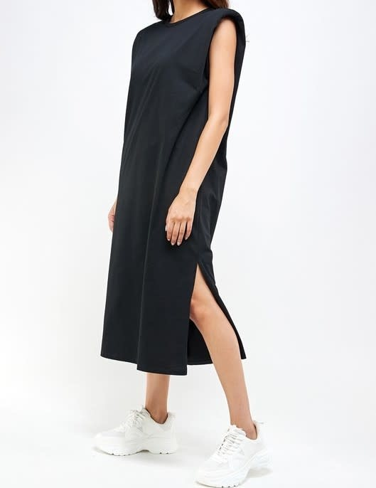 Atikshop Padded Shoulder Midi Dress
