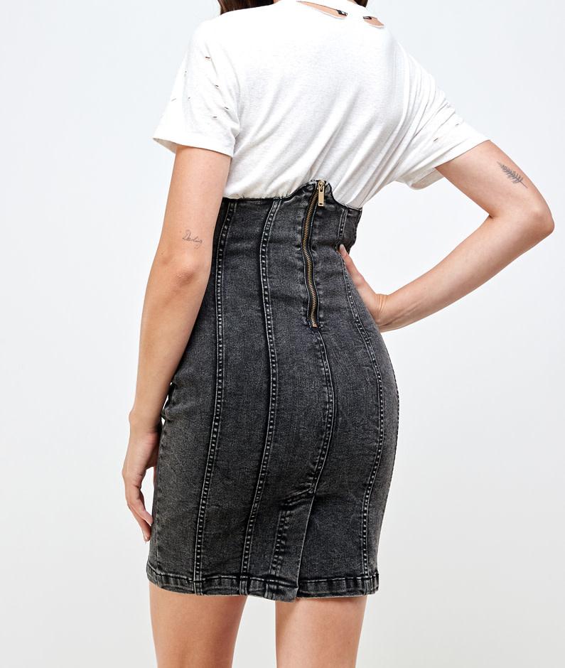 Seek The Label Corset High Waist Denim Skirt