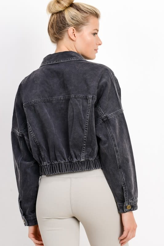 Atikshop Ribbed Crop Denim Jacket