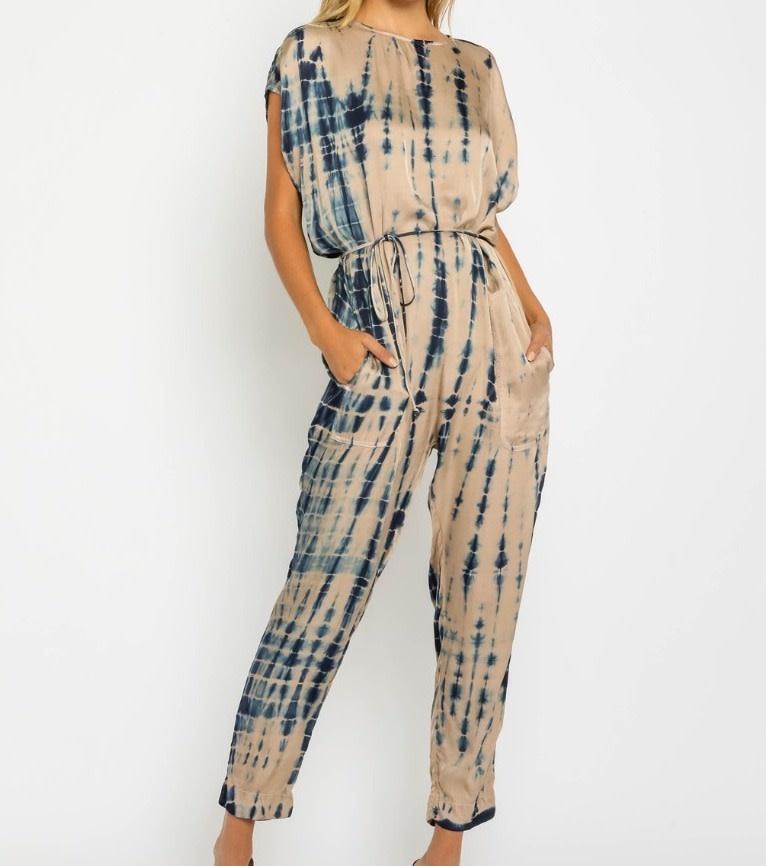 Seek The Label Satin Tie Dye Jumpsuit