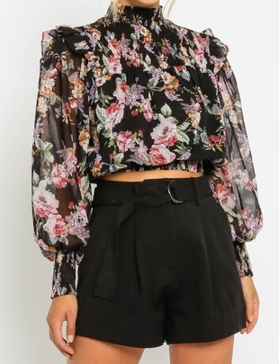 Seek The Label Floral Sheer Crop L/S Top