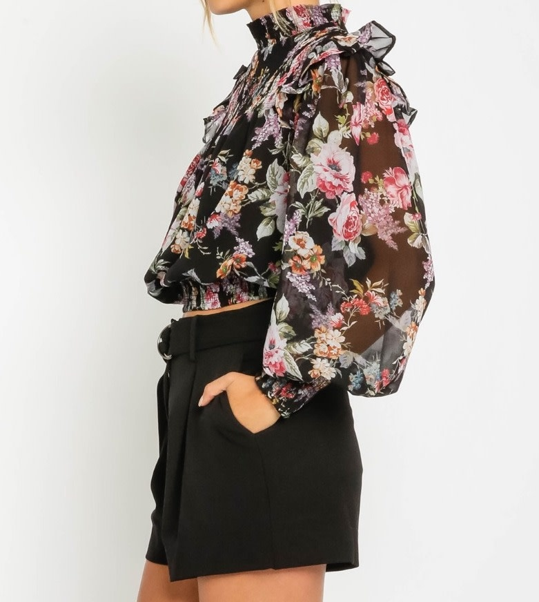 Seek The Label Floral Sheer Crop L/S Top