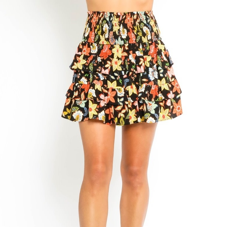 Atikshop Smocked Floral Mini Skirt
