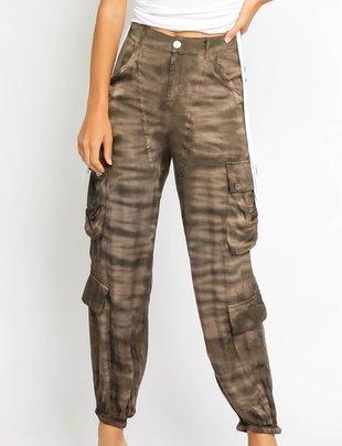 Atikshop Tie Dye Satin Cargo Pants