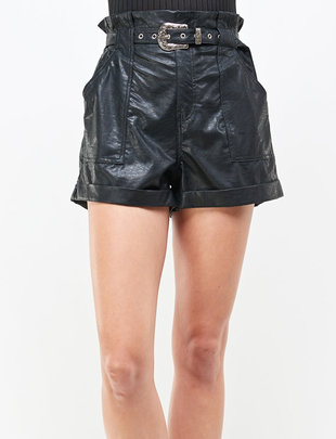 Seek The Label Paperbag Leather short W/Buckle