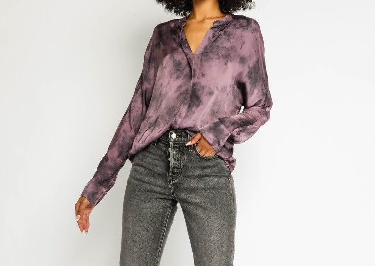 Seek The Label Satin Tie Dye L/S Shirt