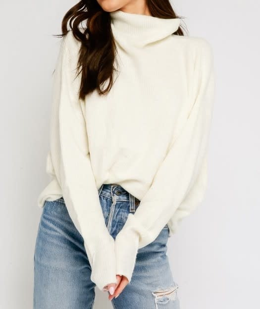 Atikshop Fuzzy Mock Neck Sweater
